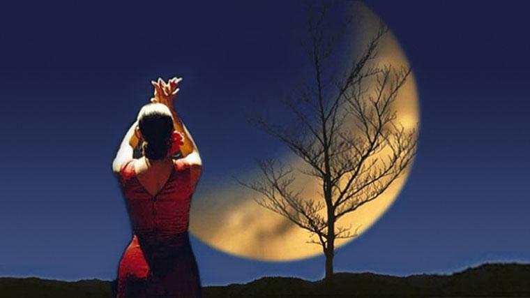 Ballerina di flamenco illuminata dalla luna